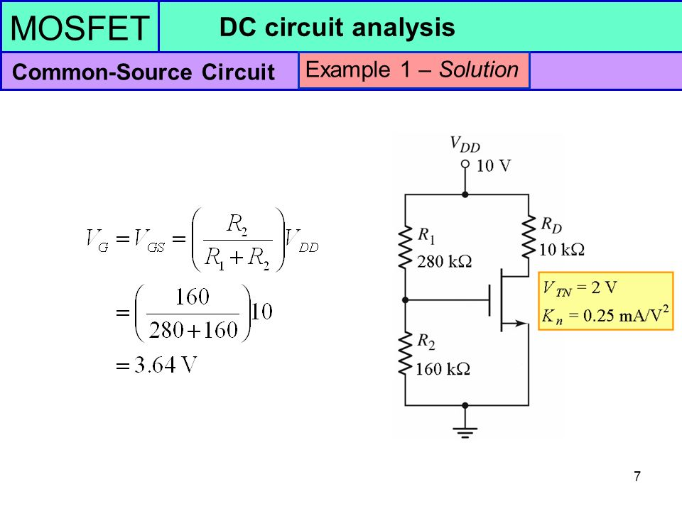 MOSFET DC circuit analysis Common-Source Circuit - ppt video