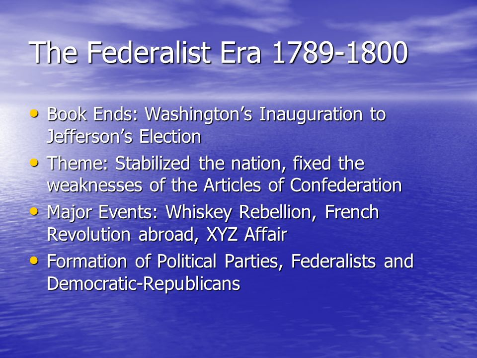 federalist and republicans Federalists vs republicans 3 abstract during the early years of the american republic known as the federalist era (1787-1800), a conflict arose which led to america's first formal political parties and the.