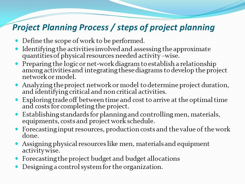 define planning what are steps involved