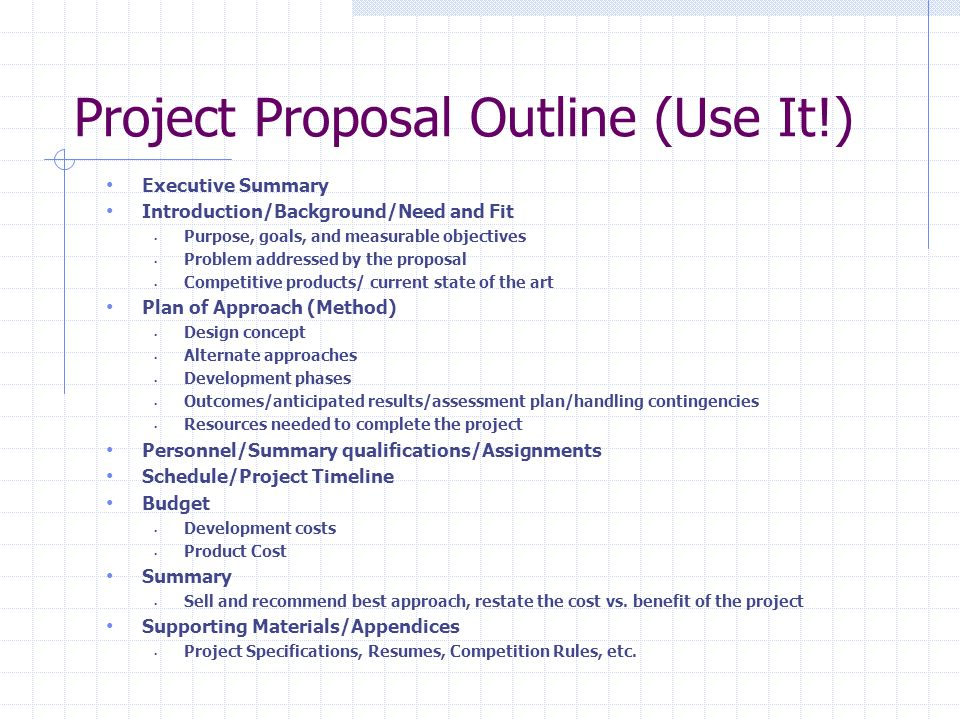 project proposal The design elements and procedures for conducting the research are governed by standards within the predominant discipline in which the problem resides, so guidelines for research proposals are more exacting and less formal than a general project proposal.