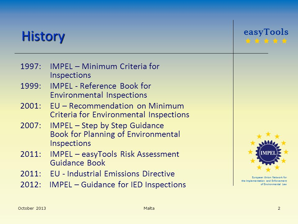 History 1997: IMPEL – Minimum Criteria for Inspections