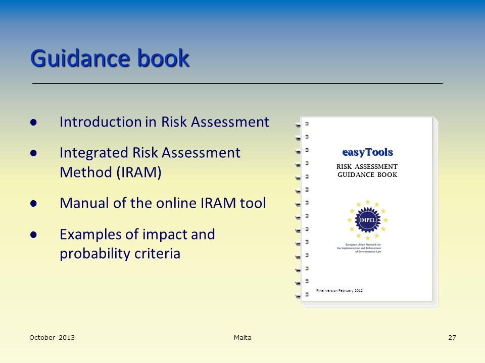 Guidance book Introduction in Risk Assessment
