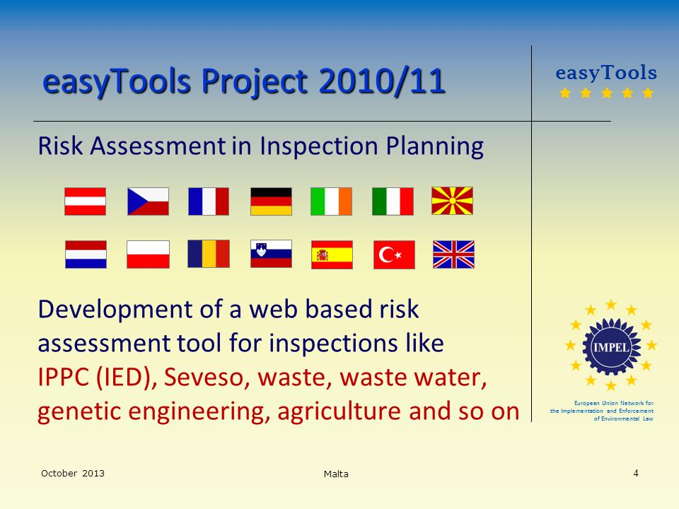 easyTools Project 2010/11 Risk Assessment in Inspection Planning