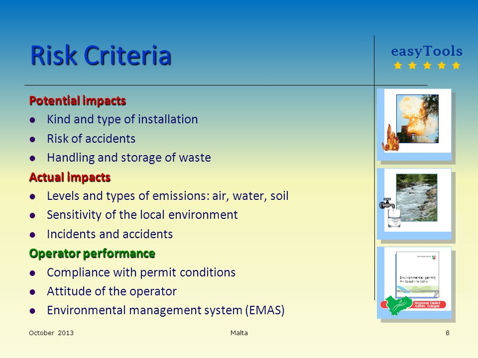 Risk Criteria easyTools Potential impacts