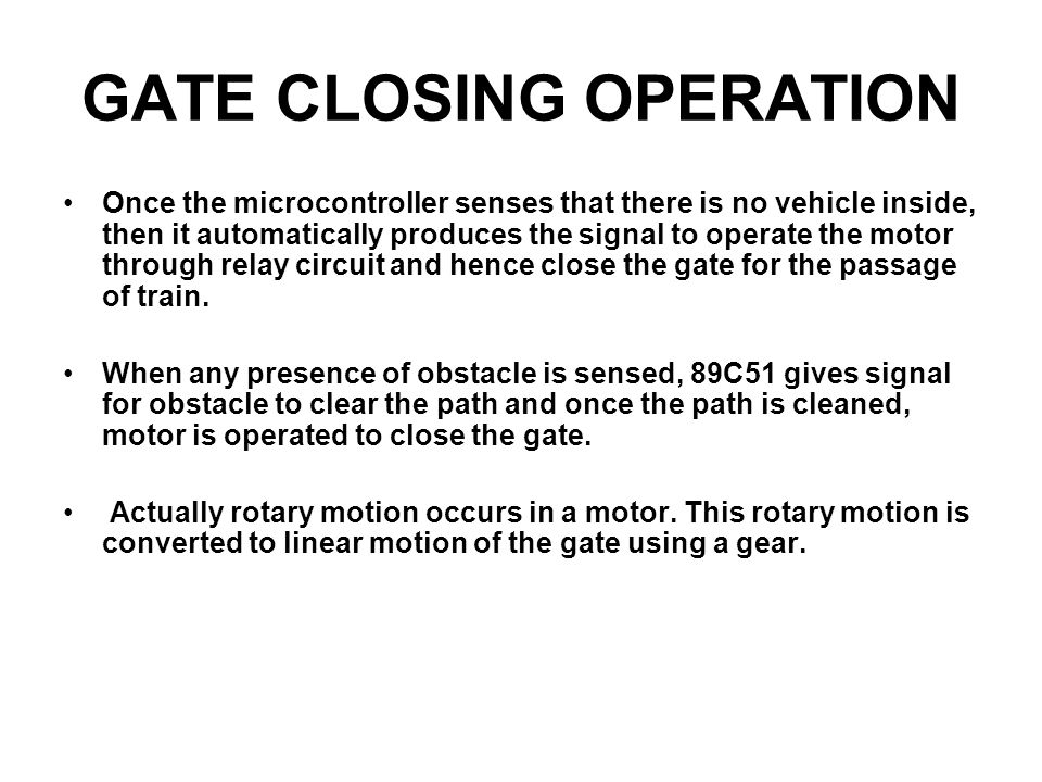 GATE CLOSING OPERATION