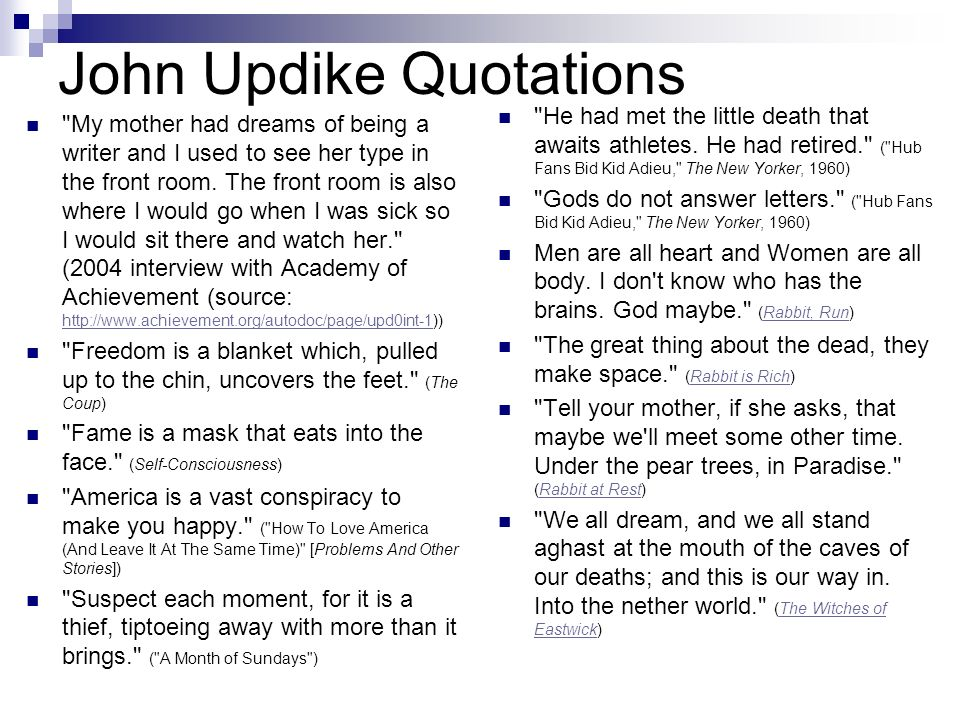 """conclusion on a p by john updike John updike's """"a & p"""" and james joyce's """"araby"""" are very similar the theme of the two stories is about a young man who is interested in figuring out the difference between reality and the fantasies of romance that play in his head and of the mistaken thoughts each."""