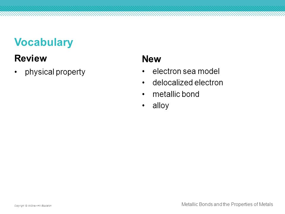 Vocabulary Review New physical property electron sea model