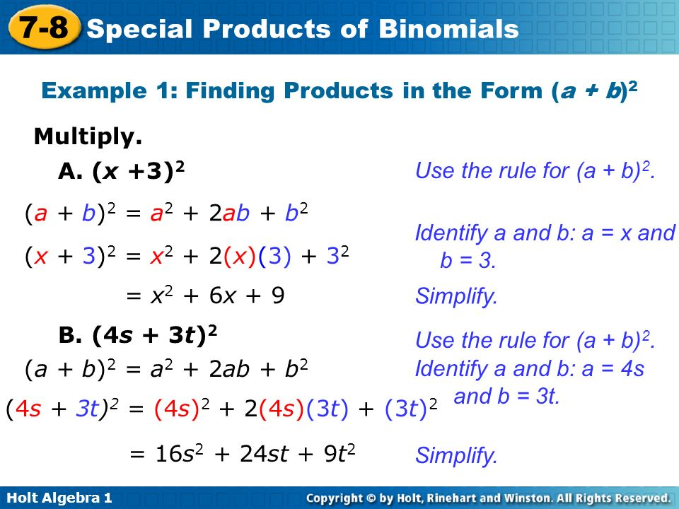 7-8 problem solving special products of binomials