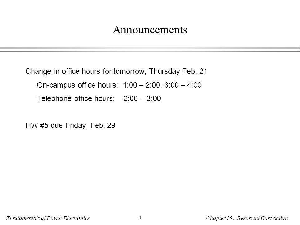 announcements change in office hours for tomorrow thursday feb ppt