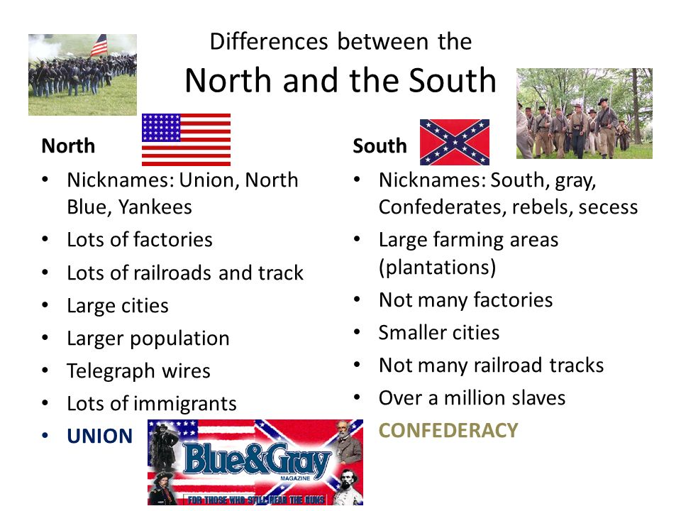 differences between the north and south before the civil war