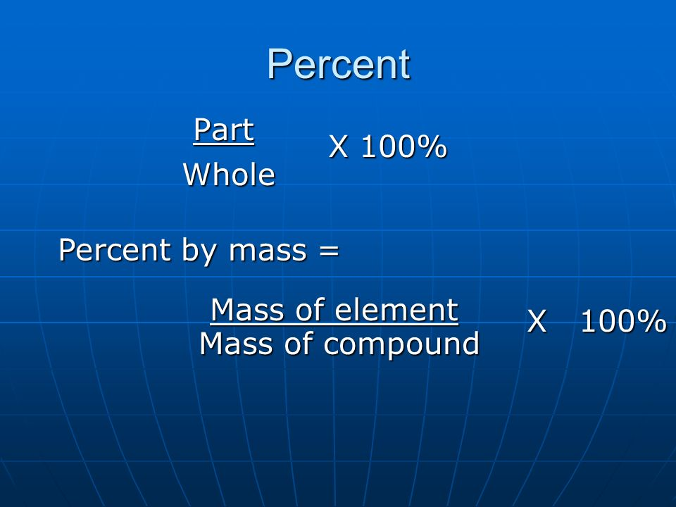 Percent Part X 100% Whole Percent by mass = Mass of element X 100%