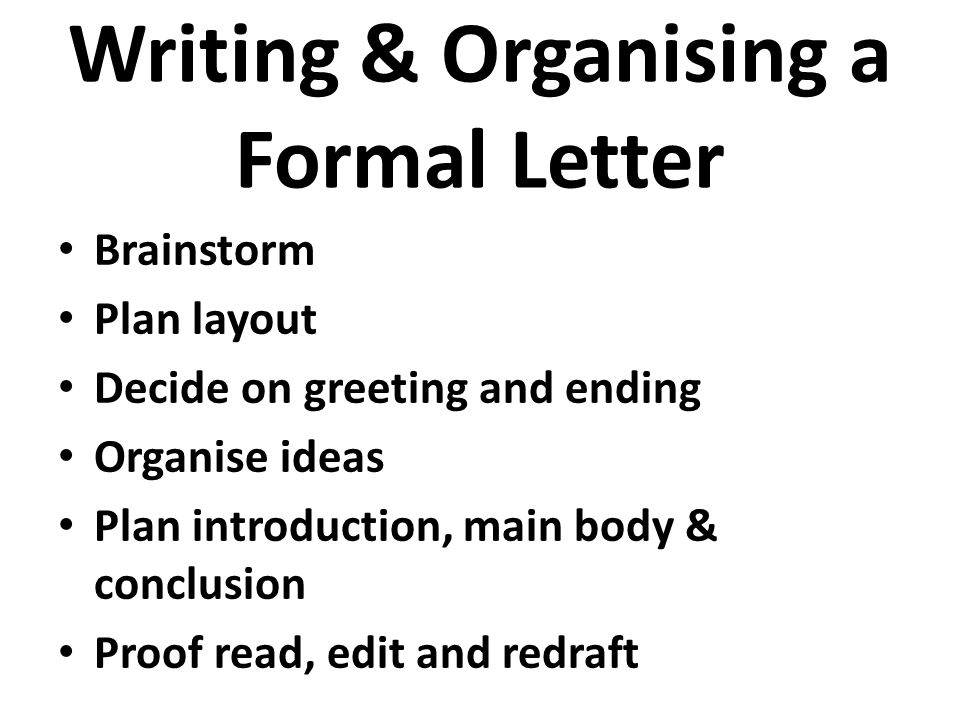 writing organising a formal letter