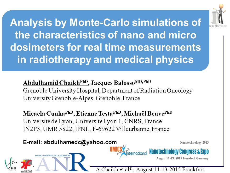 Analysis by Monte-Carlo simulations of the characteristics of nano