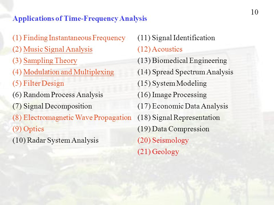Applications of Time-Frequency Analysis