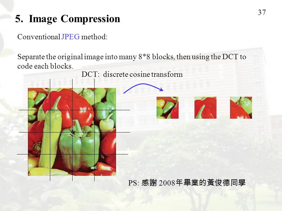 5. Image Compression Conventional JPEG method:
