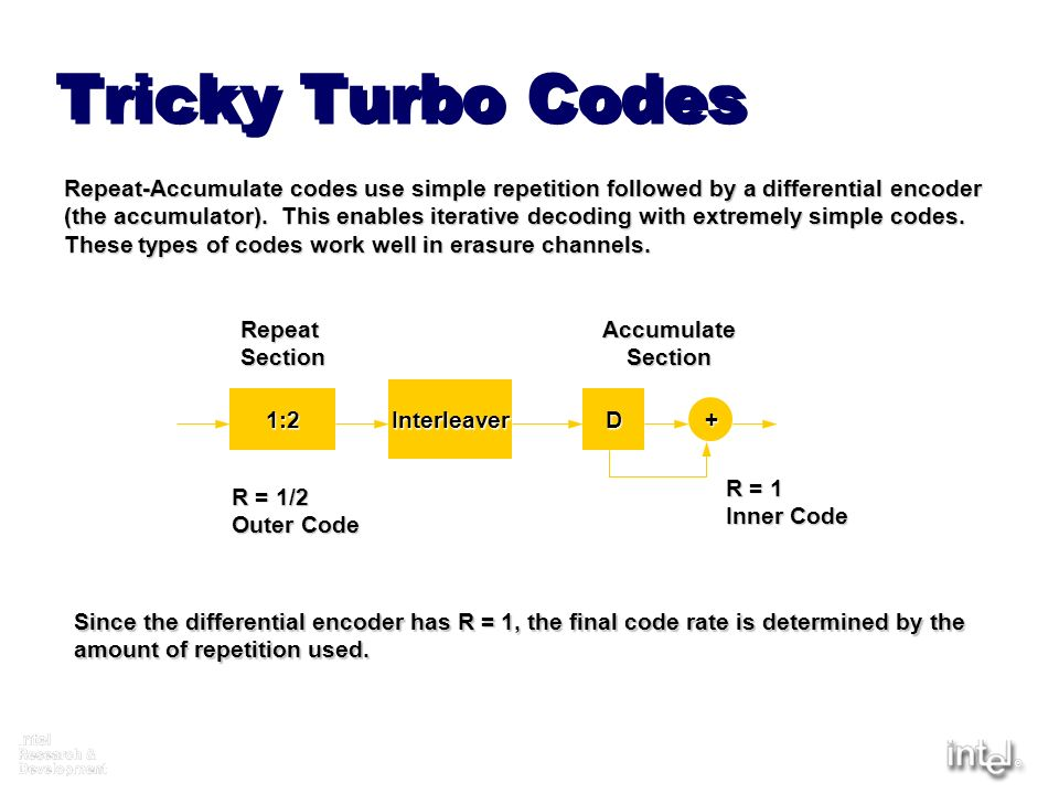 Tricky Turbo Codes Repeat-Accumulate codes use simple repetition followed by a differential encoder.