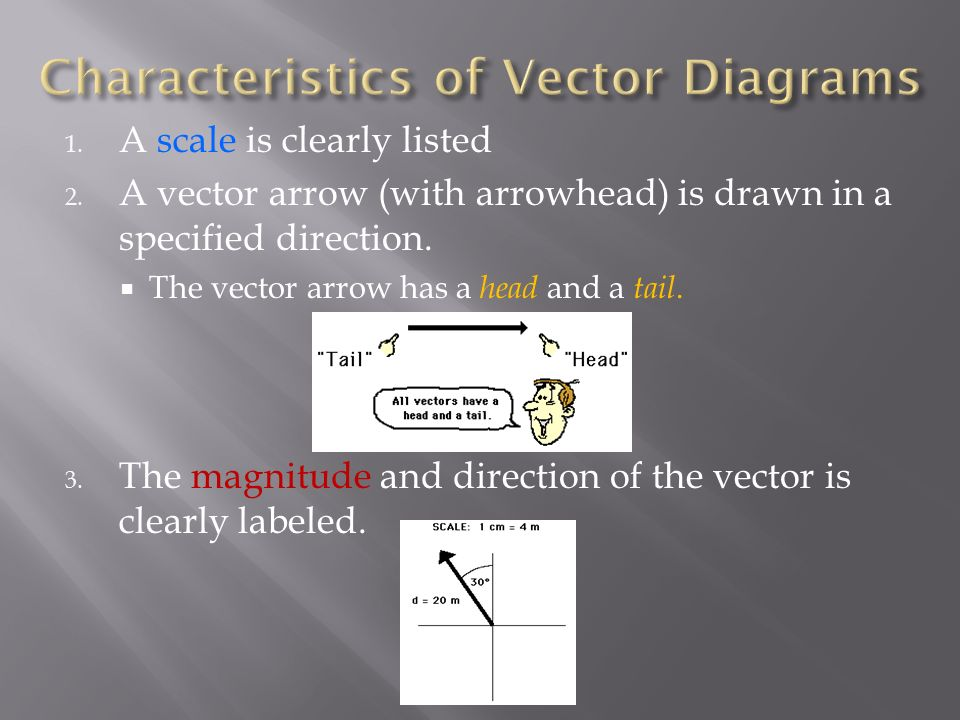 Vector diagrams motion in two dimensions ppt download characteristics of vector diagrams ccuart Images