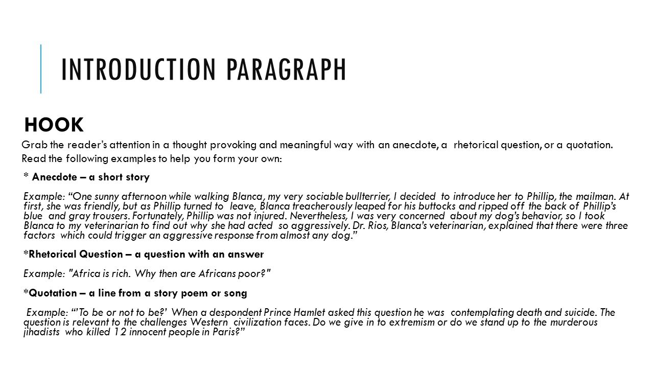 Example Essay Introduction Anecdote
