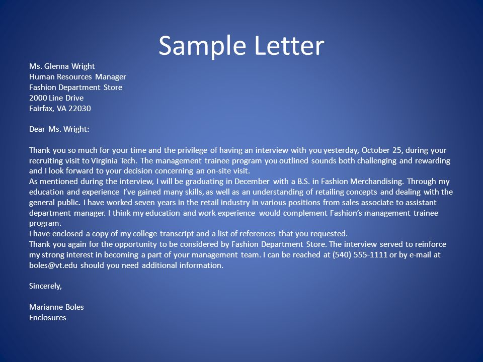 Thank You Letter Following An Interview Promptly Within 2 Business