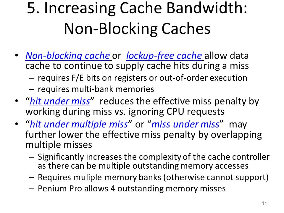 5. Increasing Cache Bandwidth: Non-Blocking Caches