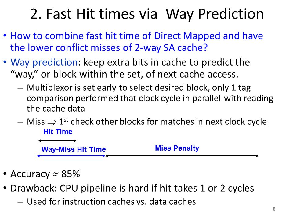 2. Fast Hit times via Way Prediction