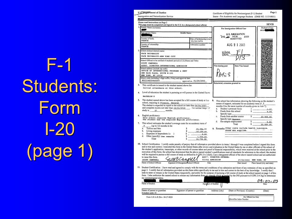 Welcome to international student orientation pace university ppt 3 f 1 students form i 20 page 1 thecheapjerseys Gallery