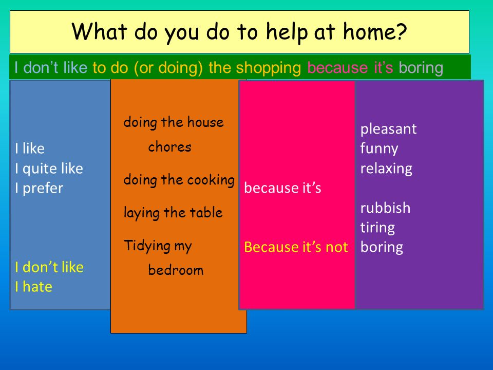 What do you do to help at home