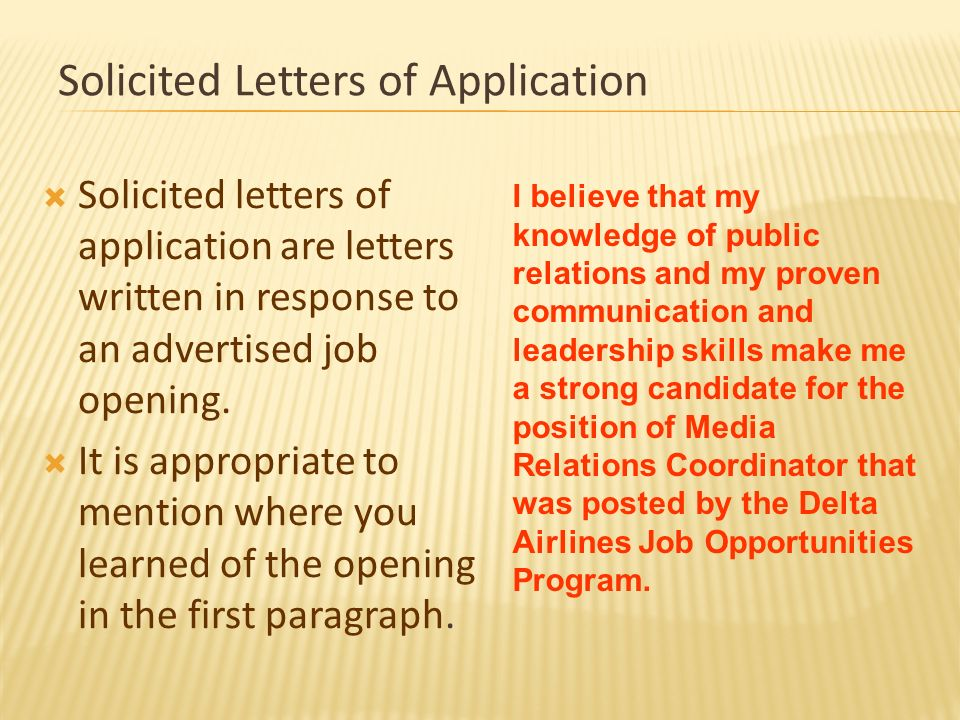The Letter Of Application Ppt Download