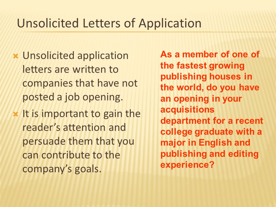 Unsolicited Letters Of Application
