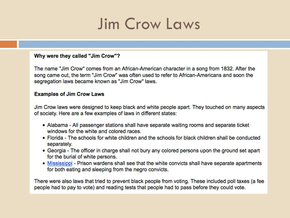 Jim Crow Laws A Look At Segregation Ppt Video Online Download