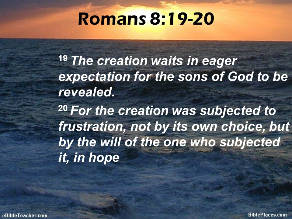 Romans 8: The creation waits in eager expectation for the sons of God to be  revealed  20 For the creation was subjected to frustration, not by