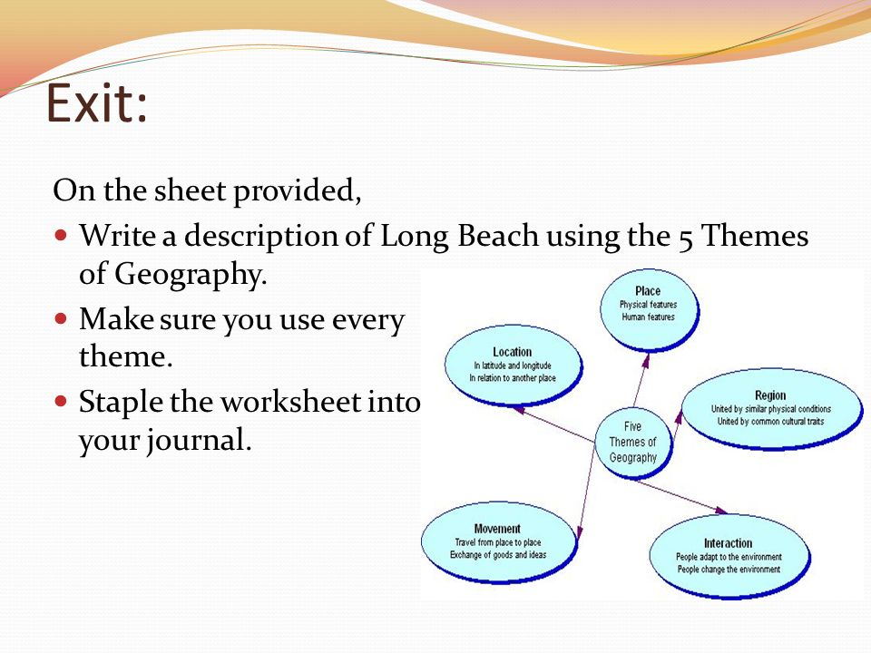 The 5 Themes Of Geography Ppt Video Online Download. Exit On The Sheet Provided. Worksheet. The Five Themes Of Geography Worksheet At Mspartners.co