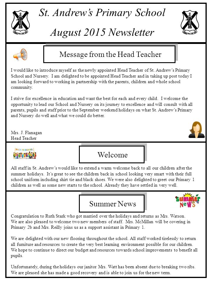 St  Andrew's Primary School August 2015 Newsletter - ppt