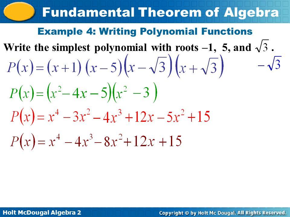 Essential Questions How Do We Use The Fundamental Theorem Of Algebra