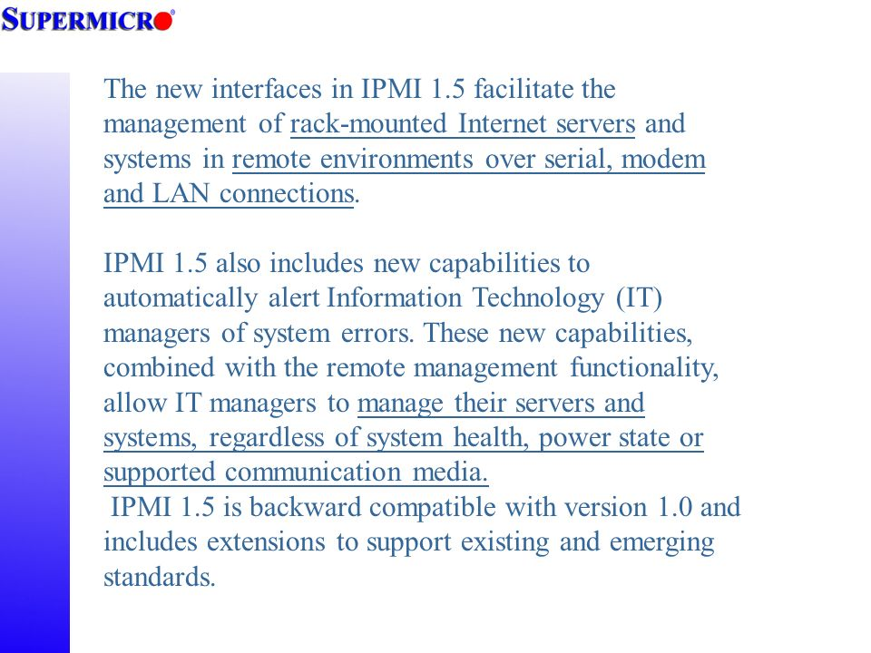 Super Micro IPMI 1 5 Solution - ppt video online download