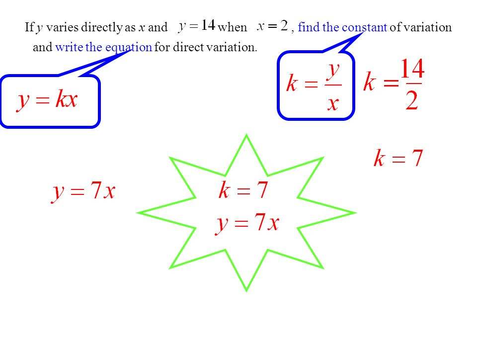 If y varies directly as x and , find the constant of variation