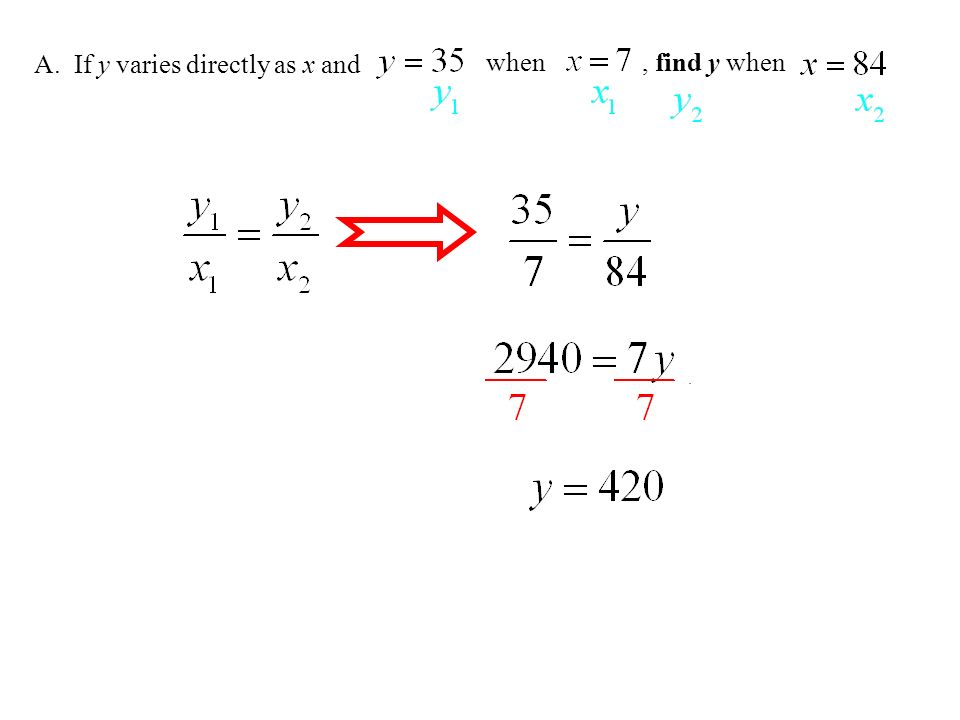 A. If y varies directly as x and , find y when