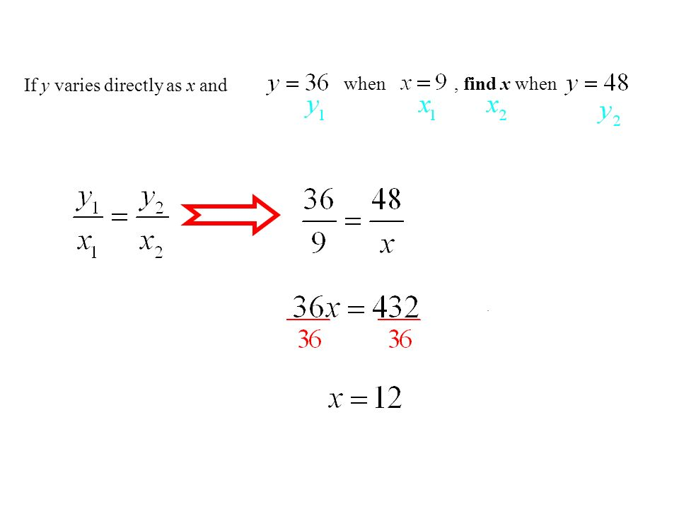 If y varies directly as x and , find x when