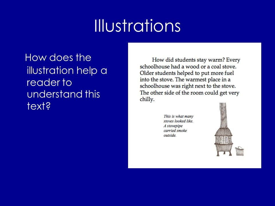 Illustrations How does the illustration help a reader to understand this text