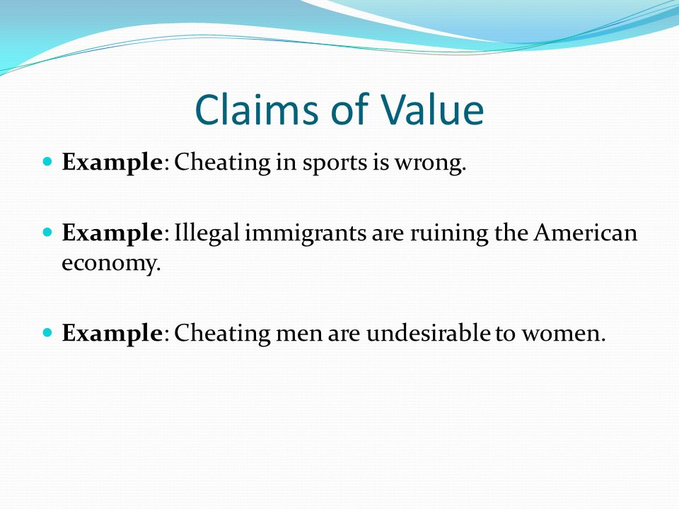 4 claims of value example