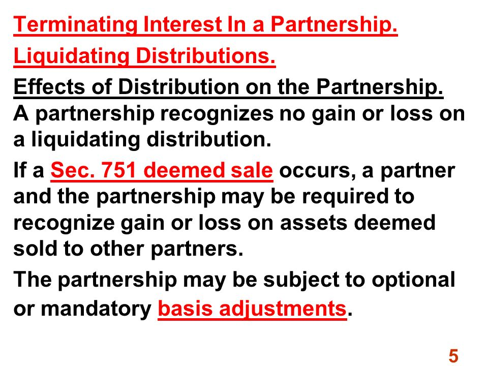 Liquidating distribution definition math