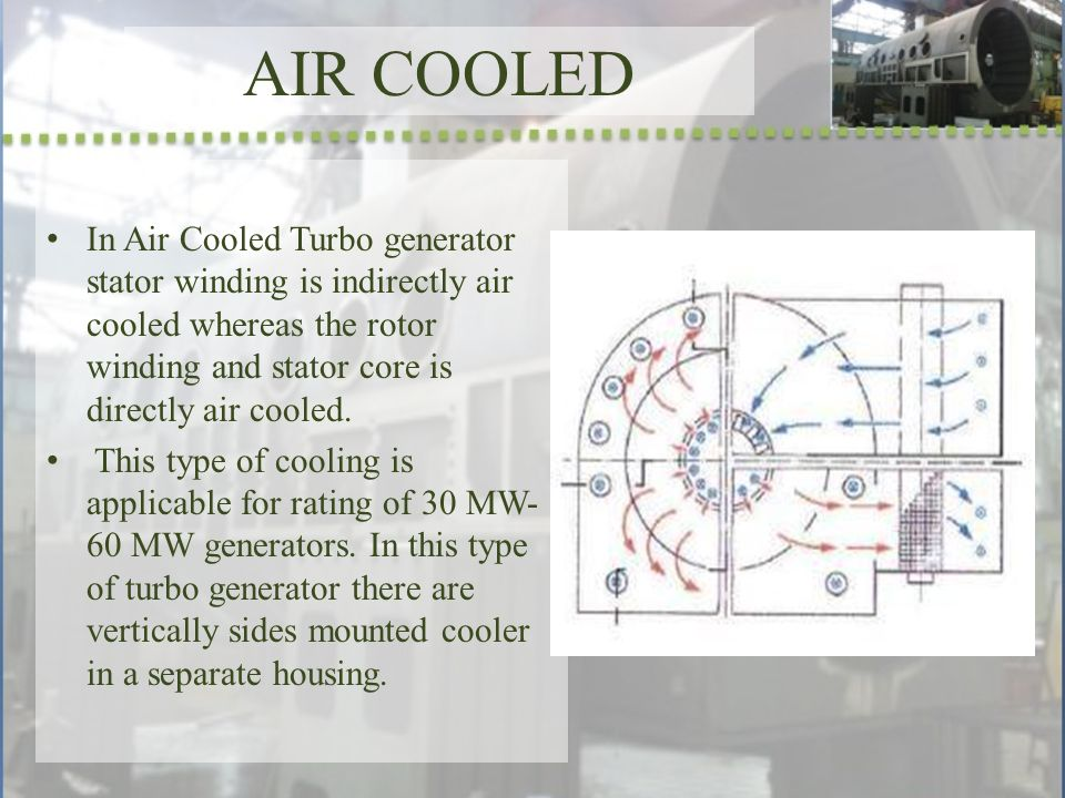 air cooled in air cooled turbo generator stator winding is indirectly air  cooled whereas the rotor