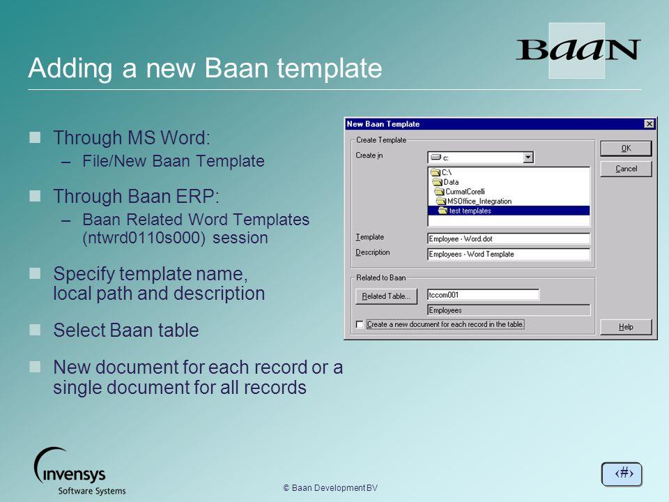Adding a new Baan template BaanERP Tools