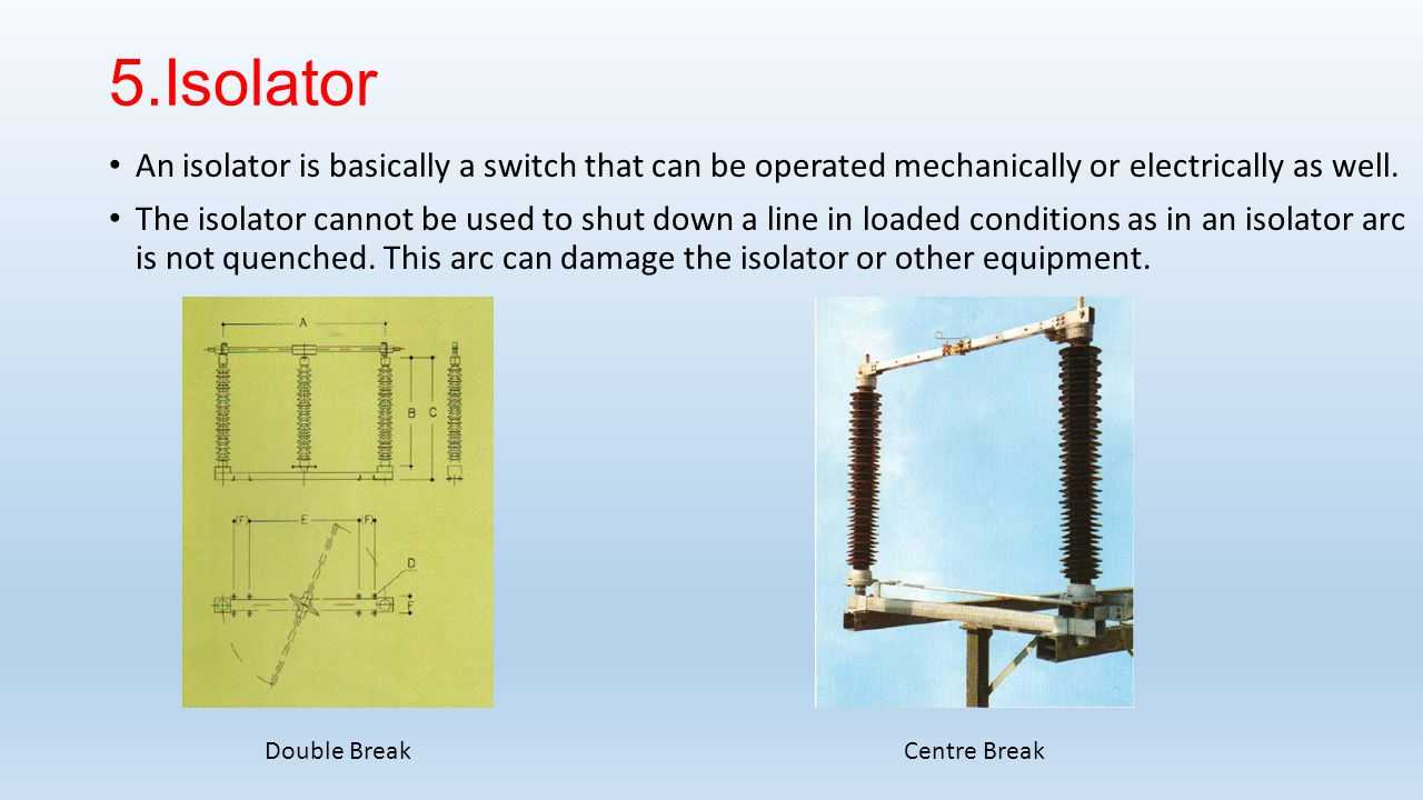 5.Isolator An isolator is basically a switch that can be operated mechanically or electrically as well.
