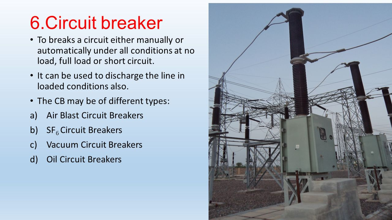 6.Circuit breaker To breaks a circuit either manually or automatically under all conditions at no load, full load or short circuit.