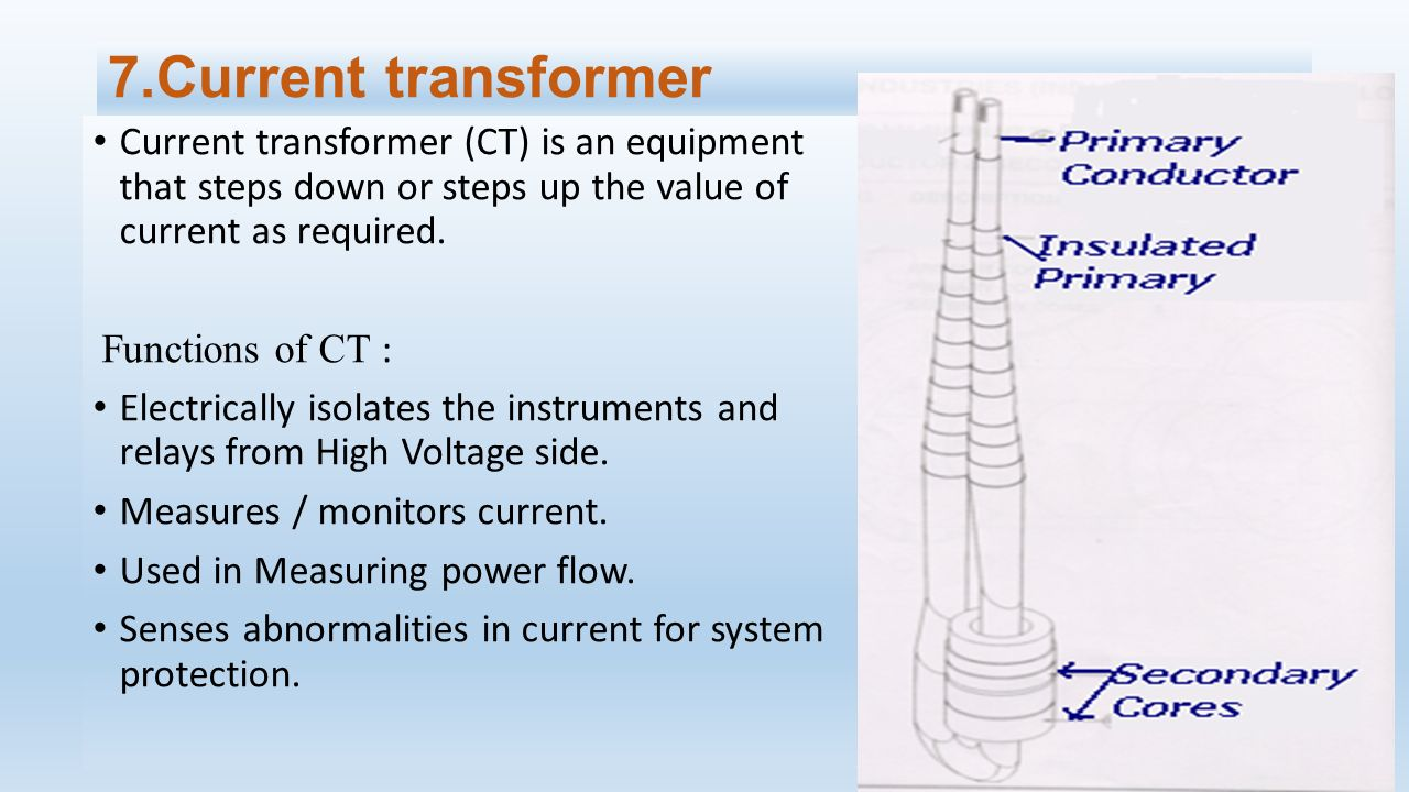 7.Current transformer Current transformer (CT) is an equipment that steps down or steps up the value of current as required.