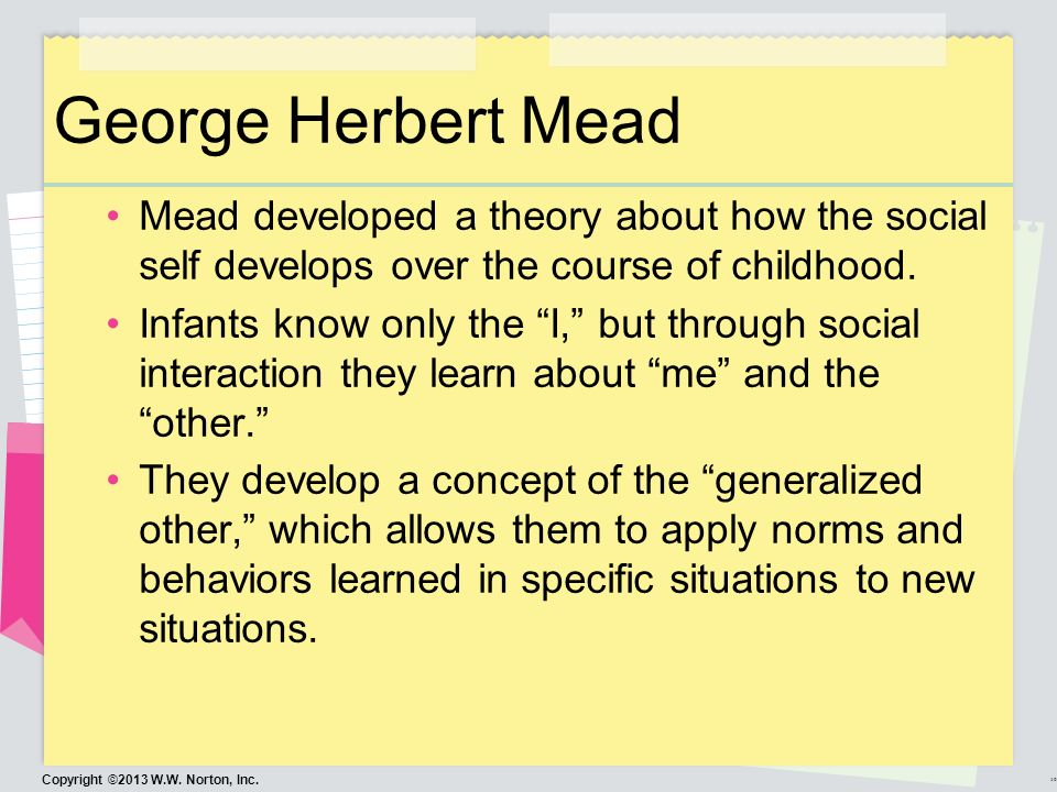 george herbert mead and erik h erikson theories socializat George herbert mead erik h erikson basic human needs cognitive development death instinct justice perspective life instinct: moral development moral reasoning self  match each of the following researchers to their theories by typing the name of the researcher in the box next to his/her theoretical claim when finished, click done.
