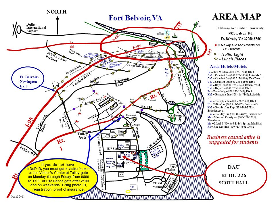 Fort Belvoir Map AREA MAP Fort Belvoir, VA P.O I 95 Rt. 1 Rt. 1 NORTH Rt ppt video