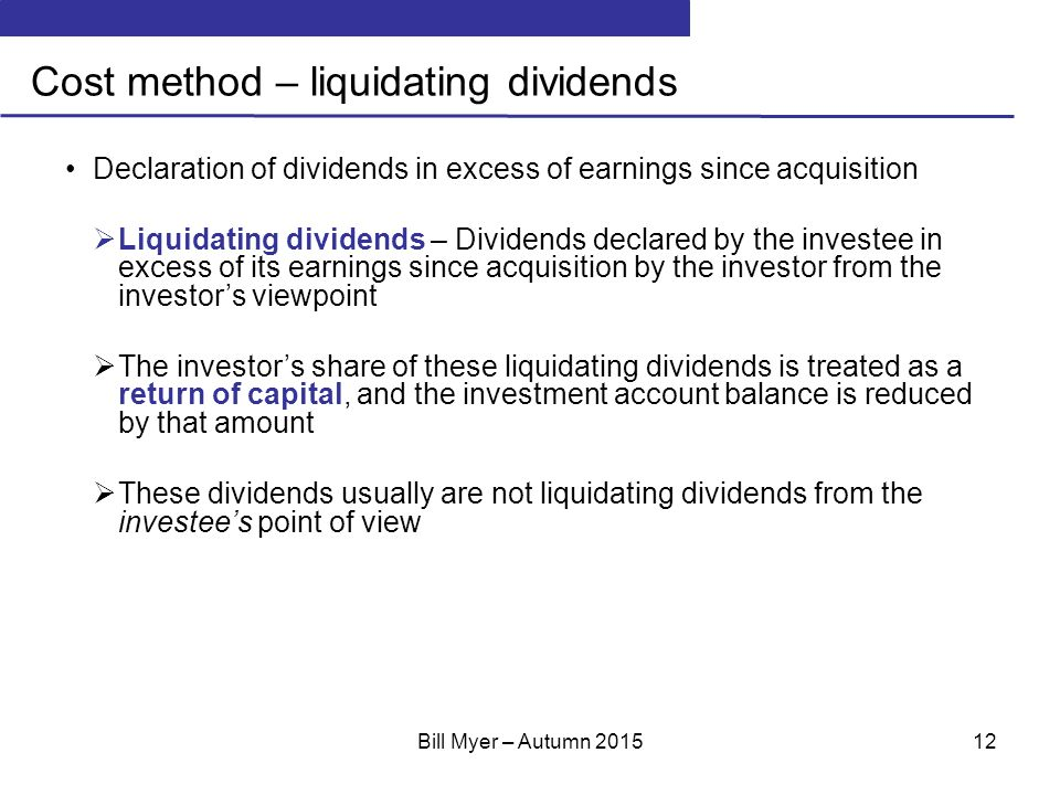 Cost method liquidating dividend