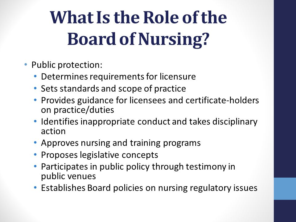 Oregon State Board of Nursing Nurse Practice Act: Laws